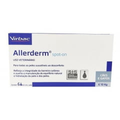 Allerderm 2ml 6 Pipetas Spot On Cães Ate 10kg Virbac
